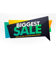 Biggest sale banner poster template with discount vector