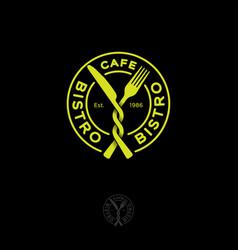 Bistro restaurant cafe logo snack fork knife vector