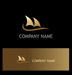 boat sail ocean gold logo vector image