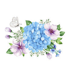 bouquet of apple tree flower gypsophila in vector image