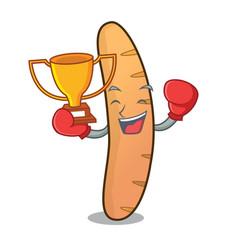 Boxing winner baguette mascot cartoon style vector