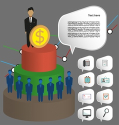 Business infographic with icons persons 3d pie cha vector image