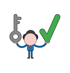 Businessman character holding key and check mark vector
