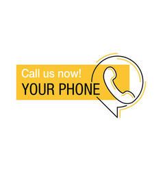 Call us yellow block for phone number vector