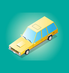 cartoon yellow old retro flat isometric long car vector image