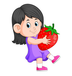 Cheerful girl with big strawberries vector