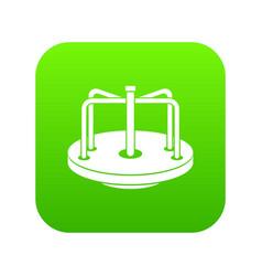 Children merry go round icon digital green vector