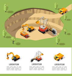 Colorful isometric coal extraction composition vector
