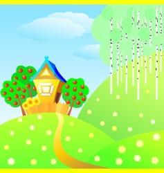 Country cottage landscape vector