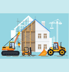 crane machinery and building construction vector image