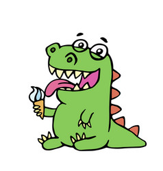 cute dinosaur eating ice cream vector image