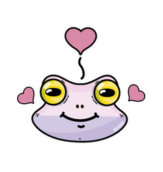 Cute flog female animal with hearts design vector