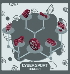 cyber sport color concept isometric icons vector image