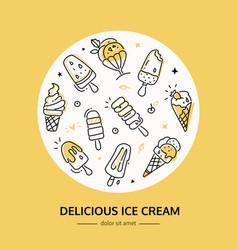 delicious ice cream - - line design style banner vector image