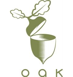 design template of acorn and oak leaf vector image vector image