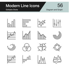 diagram and graph icons modern line design set 56 vector image