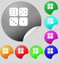 Dices icon sign Set of eight multi colored round vector