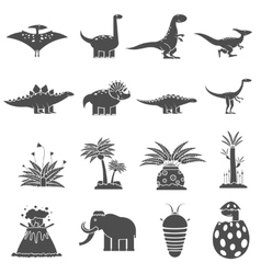 Dinosaurs Black Set vector image