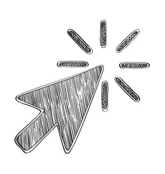 doodle click arrow icon vector image