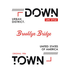 downtown new york sport typography design vector image