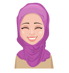 Face expression of arabic woman - happy vector