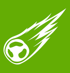 Falling meteor with long tail icon green vector