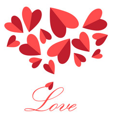 festive greeting card for valentines day with red vector image