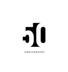 Fifty anniversary minimalistic logo fiftieth vector