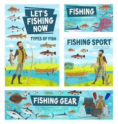 fisher catching fish fishing sport gear vector image