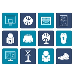Flat Basketball and sport icons vector image