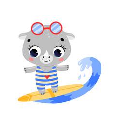 Flat doodle cute cartoon summer surfing rhino vector