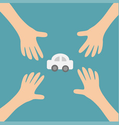 four hands arms reaching to cartoon auto car vector image