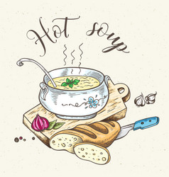 fresh hot soup and bread vector image