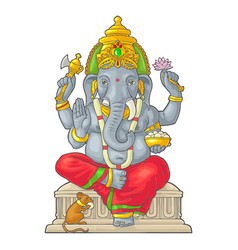 Ganpati with mouse for poster ganesh chaturthi vector