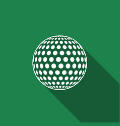 golf ball flat icon with long shadow vector image