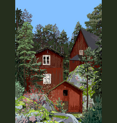 Group traditional red scandinavian houses on vector