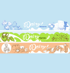 Hand drawn dairy horizontal banners vector