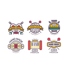 Hand made needlework badge and logo set vector