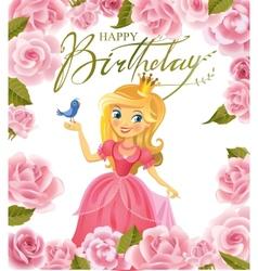 Happy birthday princess greeting card vector
