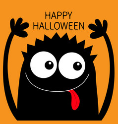 Happy halloween monster head black silhouette two vector