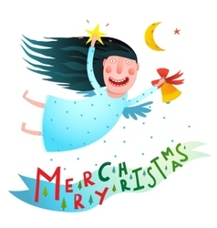 Happy winter holidays smiling angel girl holding vector