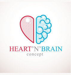 heart and brain concept conflict between emotions vector image