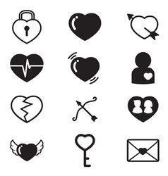 heartslovercouple concept icons set vector image