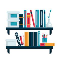 home library bookshelves for study room books on vector image