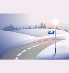 Kilometer mile pillar 2018 on winter road concept vector