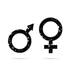 male and female grunge icon black vector image