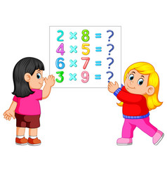 math worksheet template with two girls vector image