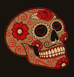 Mexican sugar skull on a dark background vector