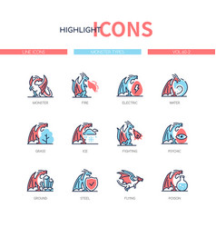monster types - line design style icons set vector image