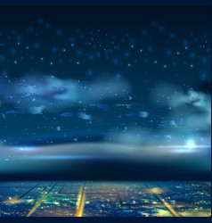 night city sky background with star cloud vector image